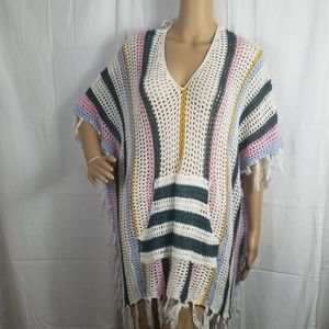 NWT- Forever 21 multi colored crochet poncho